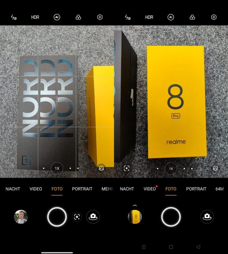OnePlus Nord 2 5G vs Realme Kamera App