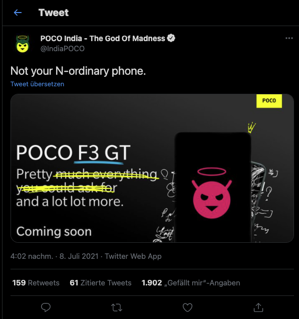 POCO F3 GT Tweet