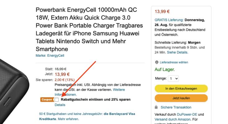 POWERADD EnergyCell Powerbank Amazon Gutschein