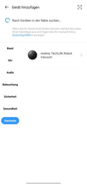 Realme TechLife Robot Vacuum App Hinzufuegen