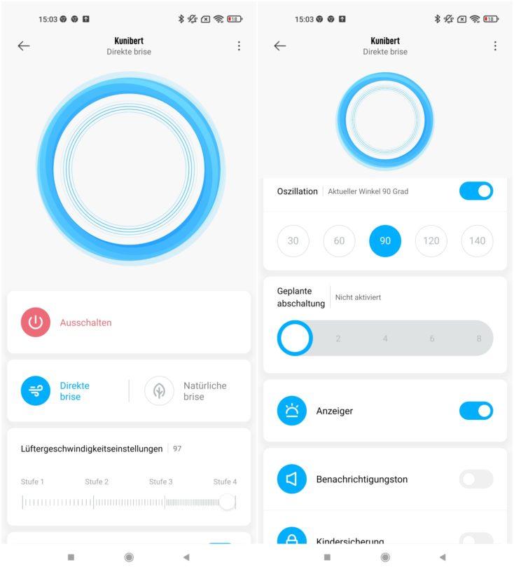 Xiaomi Mi Smart Standing Fan 2 App Einstellungen