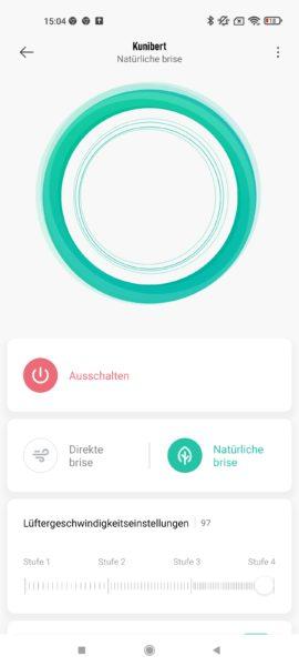 Xiaomi Mi Smat Standing Fan 2 App Naturmodus