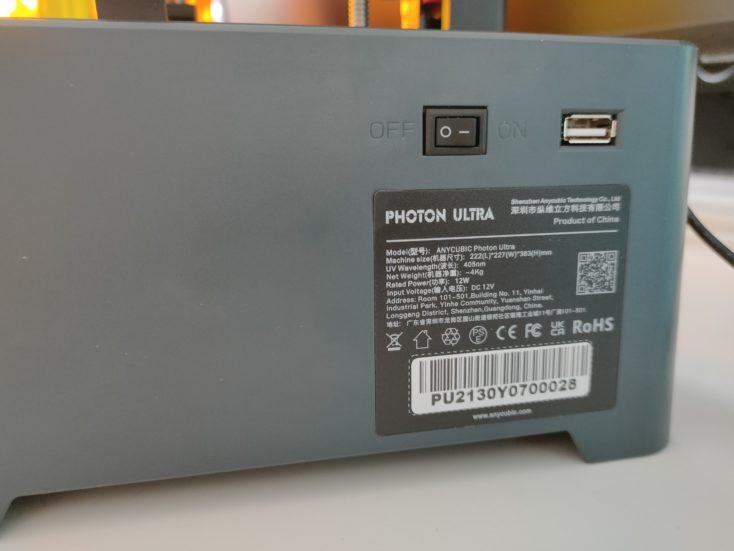 Anycubic Photon Ultra DLP 3D Drucker Schalter USB Anschluss