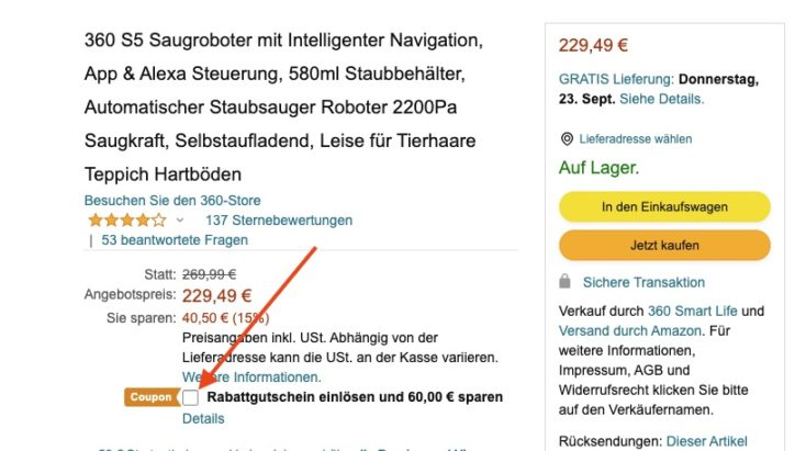 360 S5 Saugroboter Amazon Gutschein