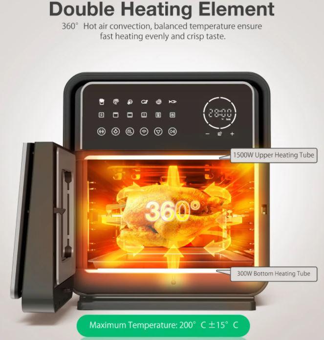 BlitzHome BH-A01 Smart Air Fryer Oven 360 grad Hitze