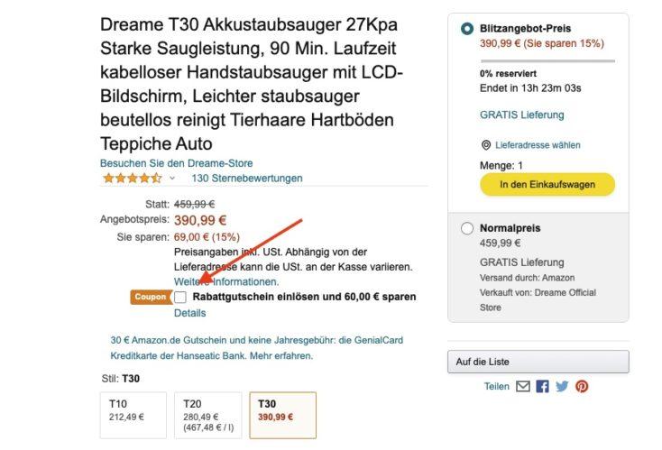 Dreame T30 Akku Gutschein Amazon