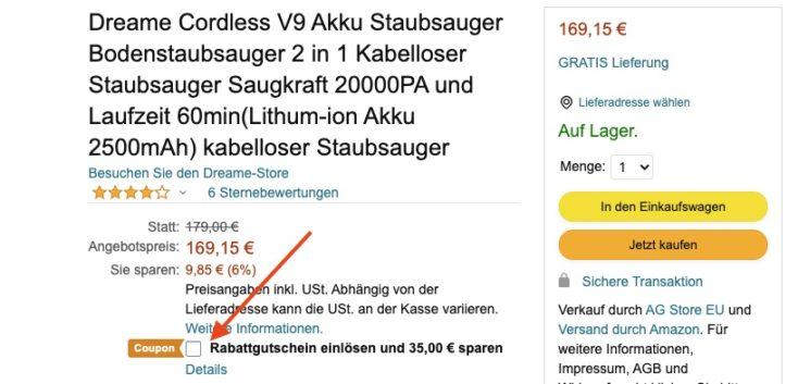 Dreame V9 Amazon Rabattgutschein aktivieren