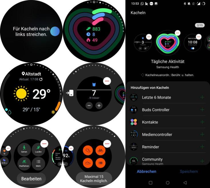 Samsung Galaxy Watch 4 Kacheln Widgets