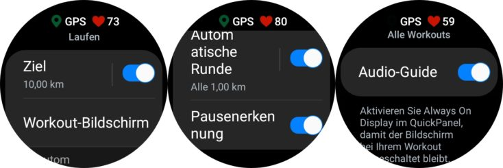 Samsung Galaxy Watch 4 Lauf Einstellungen