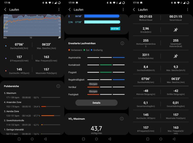 Samsung Galaxy Watch 4 Laufdaten