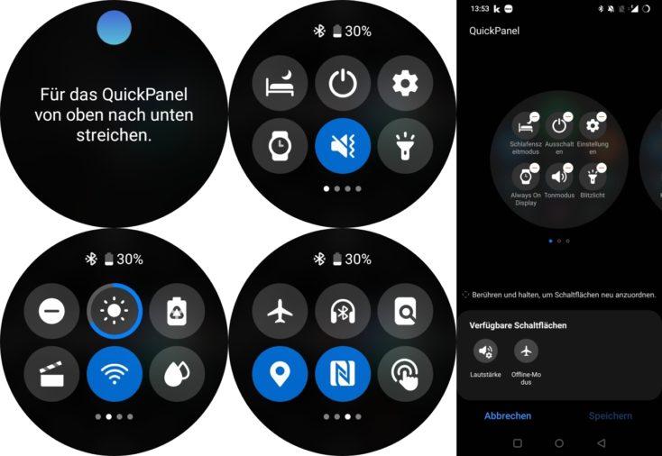 Samsung Galaxy Watch 4 Schnelleinstellungen