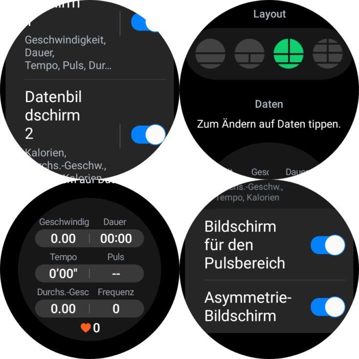 Samsung Galaxy Watch 4 Workout Bildschirme