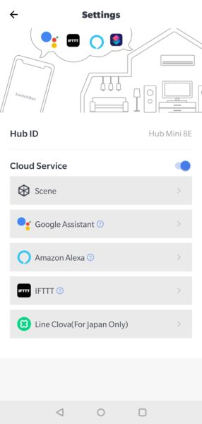 SwitchBot Hub Mini Cloud Service Einstellungen