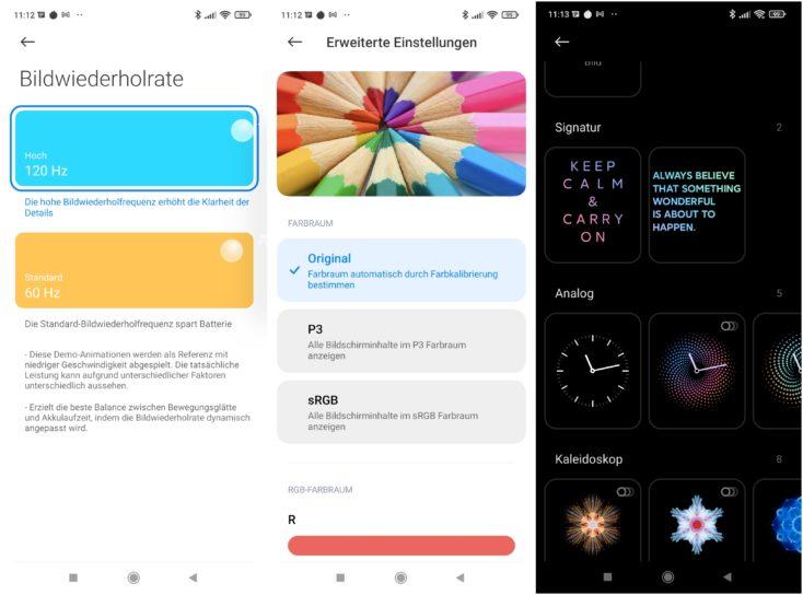 Xiaomi 11T Pro MIUI Display Einstellungen