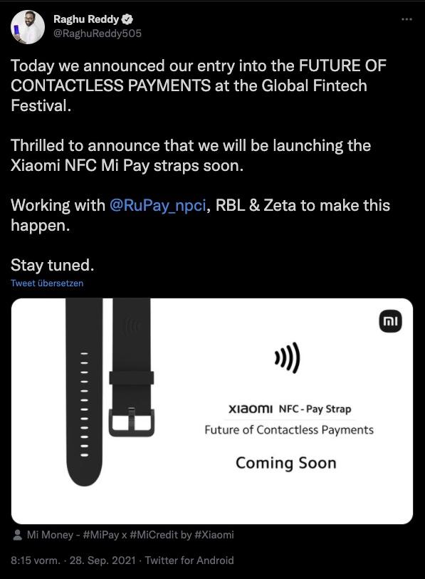 Xiaomi NFC Pay Strap Tweet