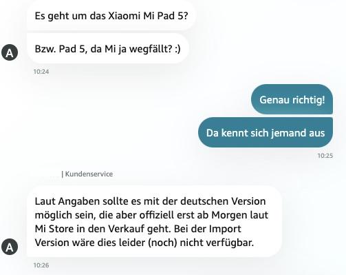 Xiaomi Pad 5 Amazon Service