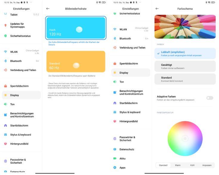 Xiaomi Pad 5 Tablet Displayeinstellungen