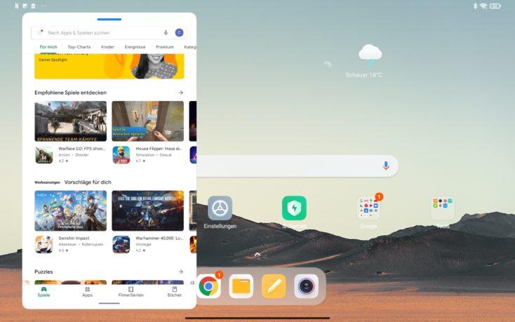 Xiaomi Tab 5 MIUI Einstellungen schwebendes Fenster